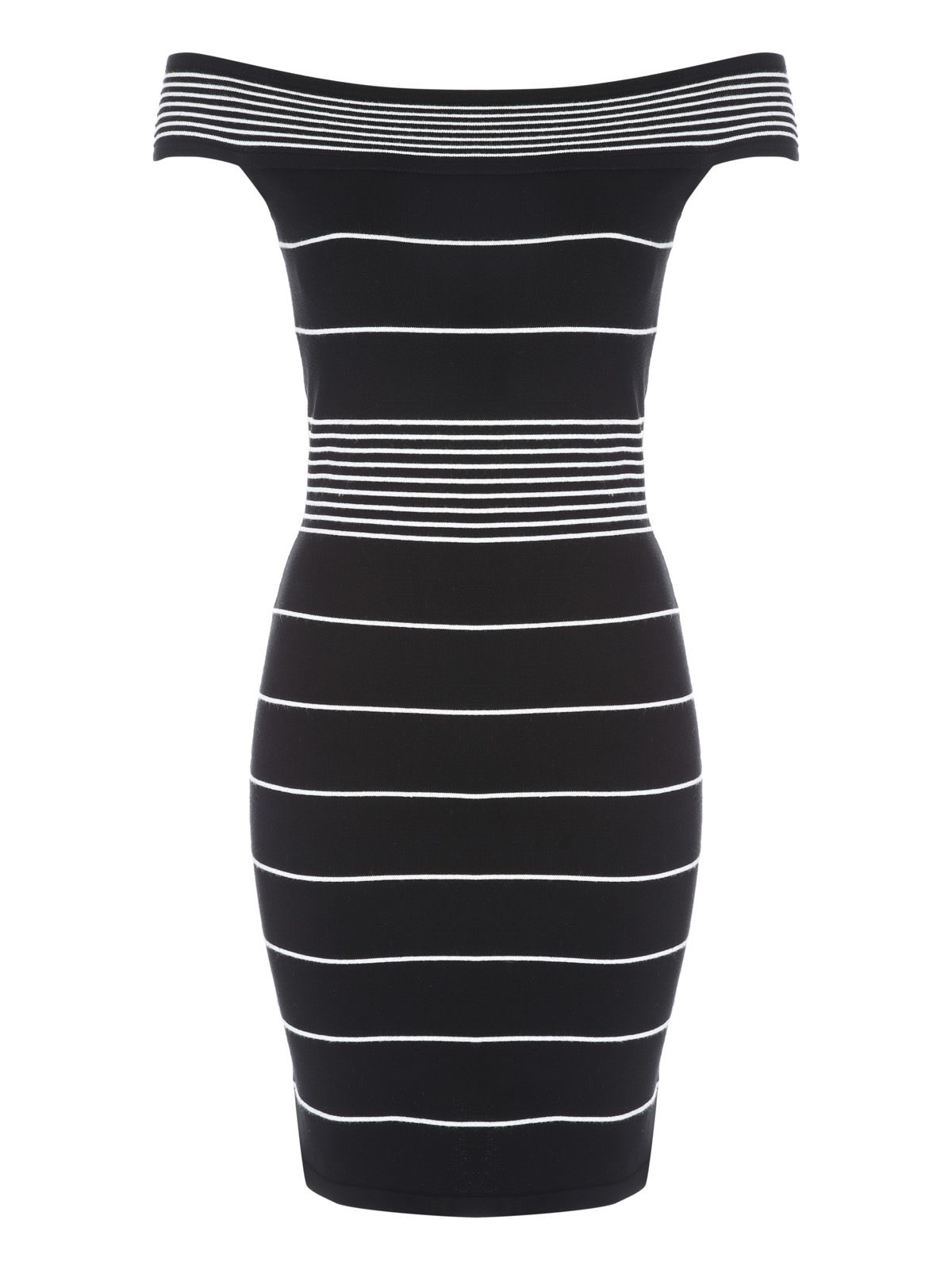 Jane Norman Stripe Off The Shoulder Jumper Dress, Black/White