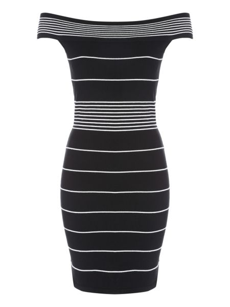 Jane Norman Stripe Off The Shoulder Jumper Dress