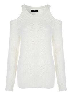 Fluffy Cold Shoulder Jumper