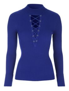 Jane Norman Rib Lace-Up Jumper