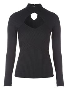 Jane Norman Cutout Long Sleeved Rib Top