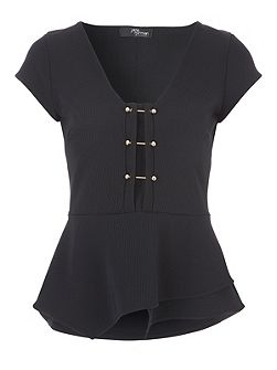 Metal T-Bar Peplum Top