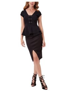 Jane Norman Metal T-Bar Peplum Top