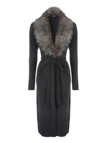 Jane Norman Grey Faux Fur Trim Collar Cardi