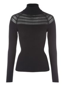 Jane Norman Black Funnel Neck Mesh Striped Jumper