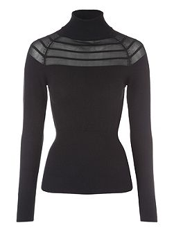 Black Funnel Neck Mesh Striped Jumper
