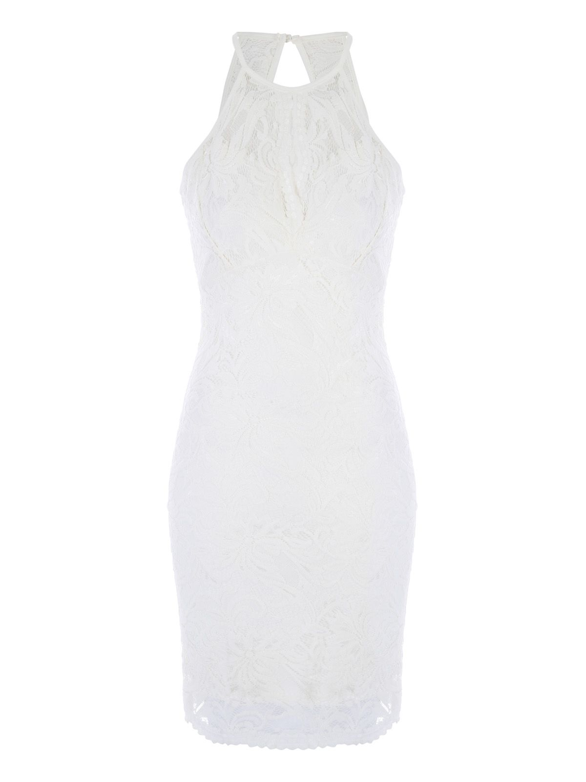 Jane Norman Racer Neck Bodycon Dress, White