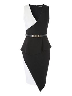 Black and White Assymmetric Belted Dress