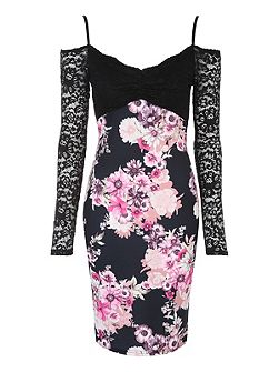 Floral Printed Lace Bardot Dress