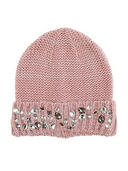 Pink Knitted Jewel Hat