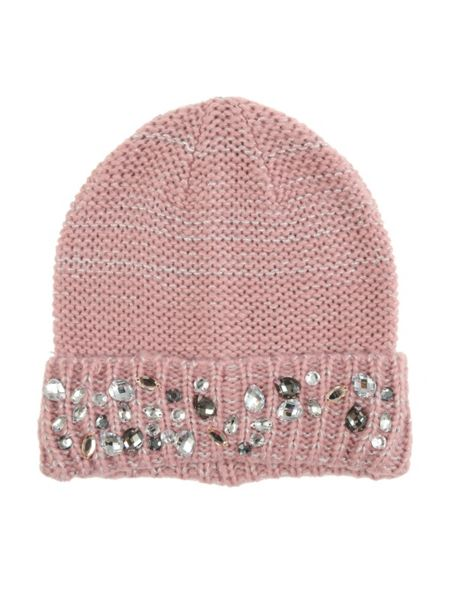 Jane Norman Pink Knitted Jewel Hat