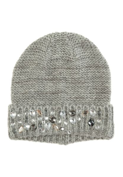 Jane Norman Grey Knitted Jewel Hat