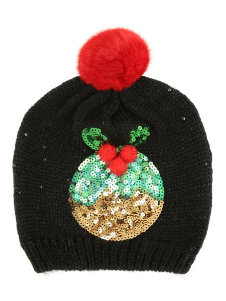 Jane Norman Black Christmas Pudding Sparkle Hat