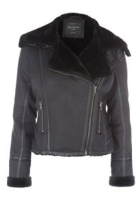 Jane Norman Black Faux Fur Biker Jacket
