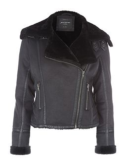 Black Faux Fur Biker Jacket