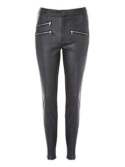Black PU Zip Detail Legging