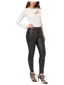 Jane Norman Black PU Zip Detail Legging