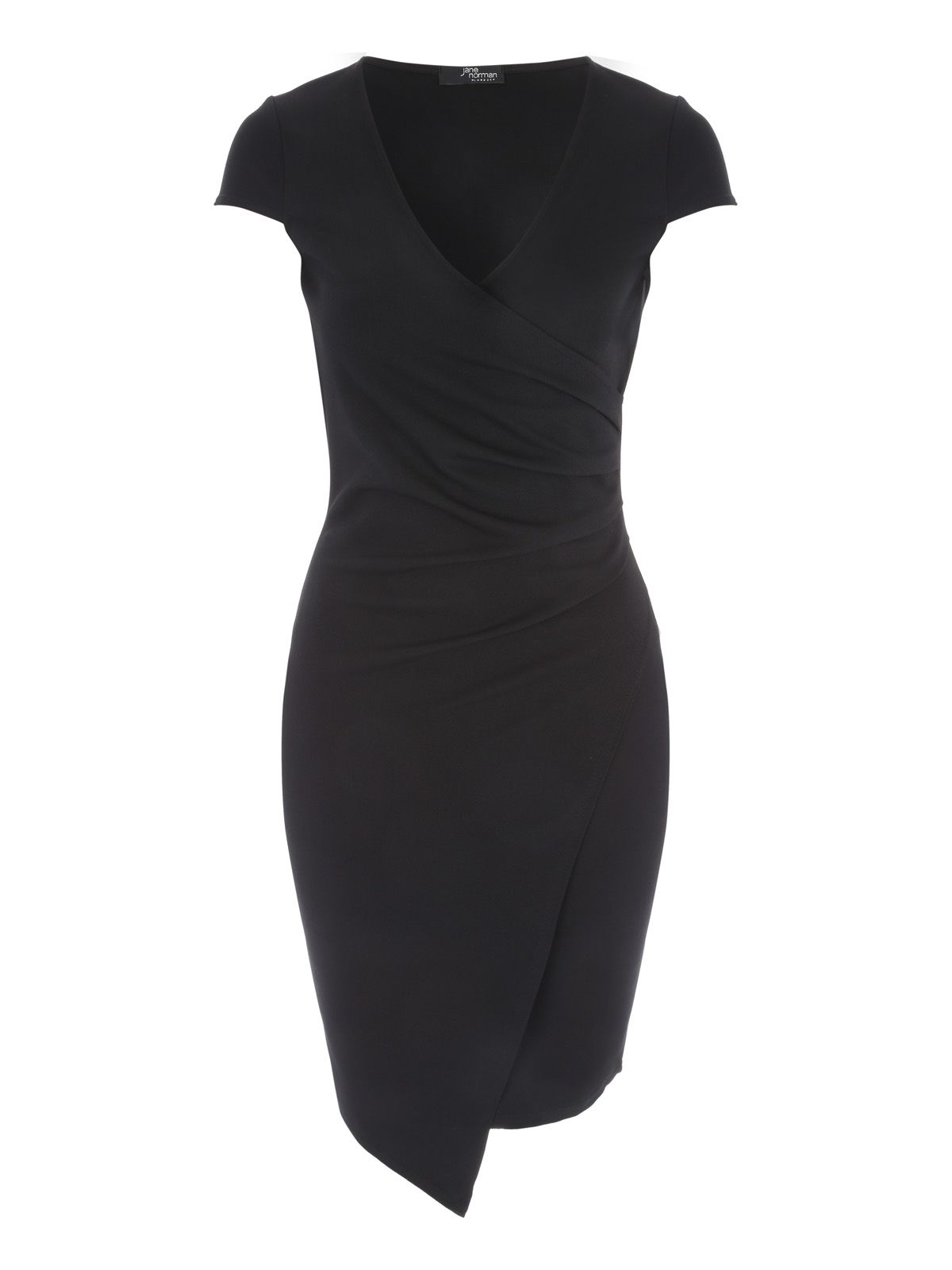 Jane Norman Wrap Asymmetric Dress, Black