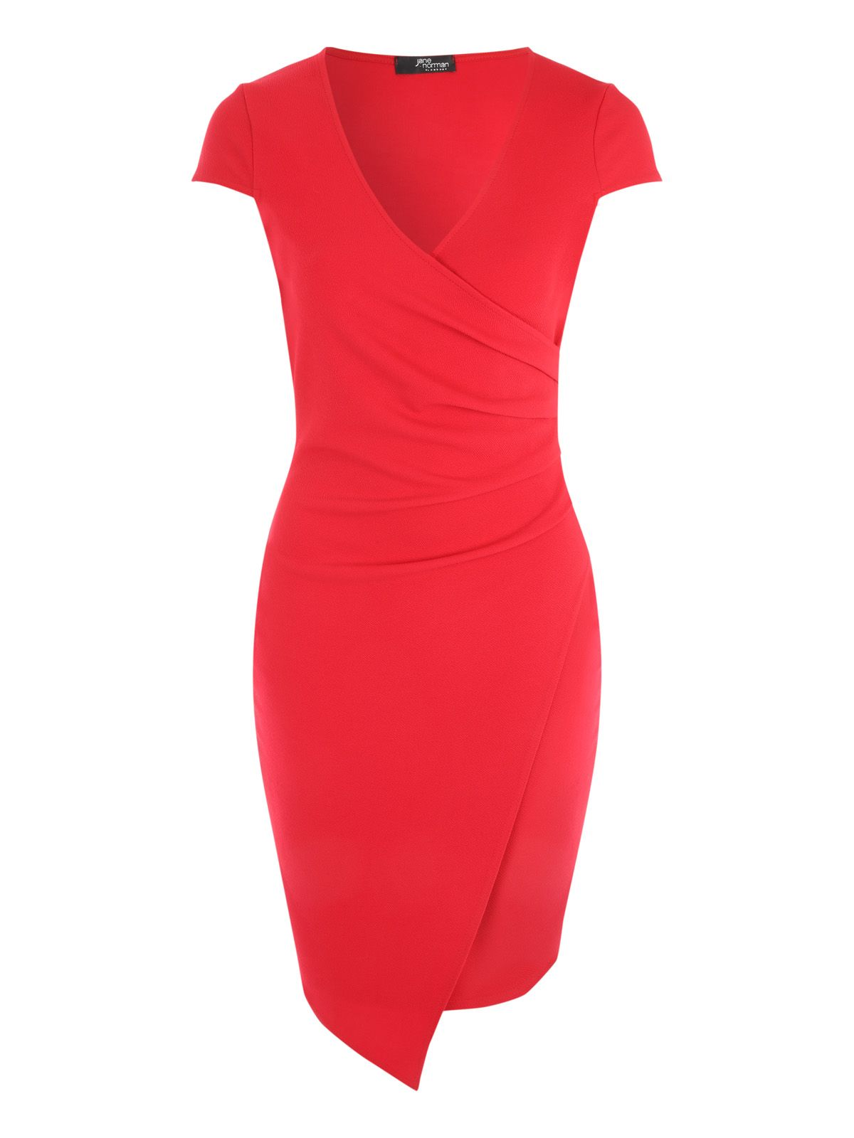 Jane Norman Wrap Asymmetric Dress, Red