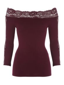Jane Norman Bardot Lace Top