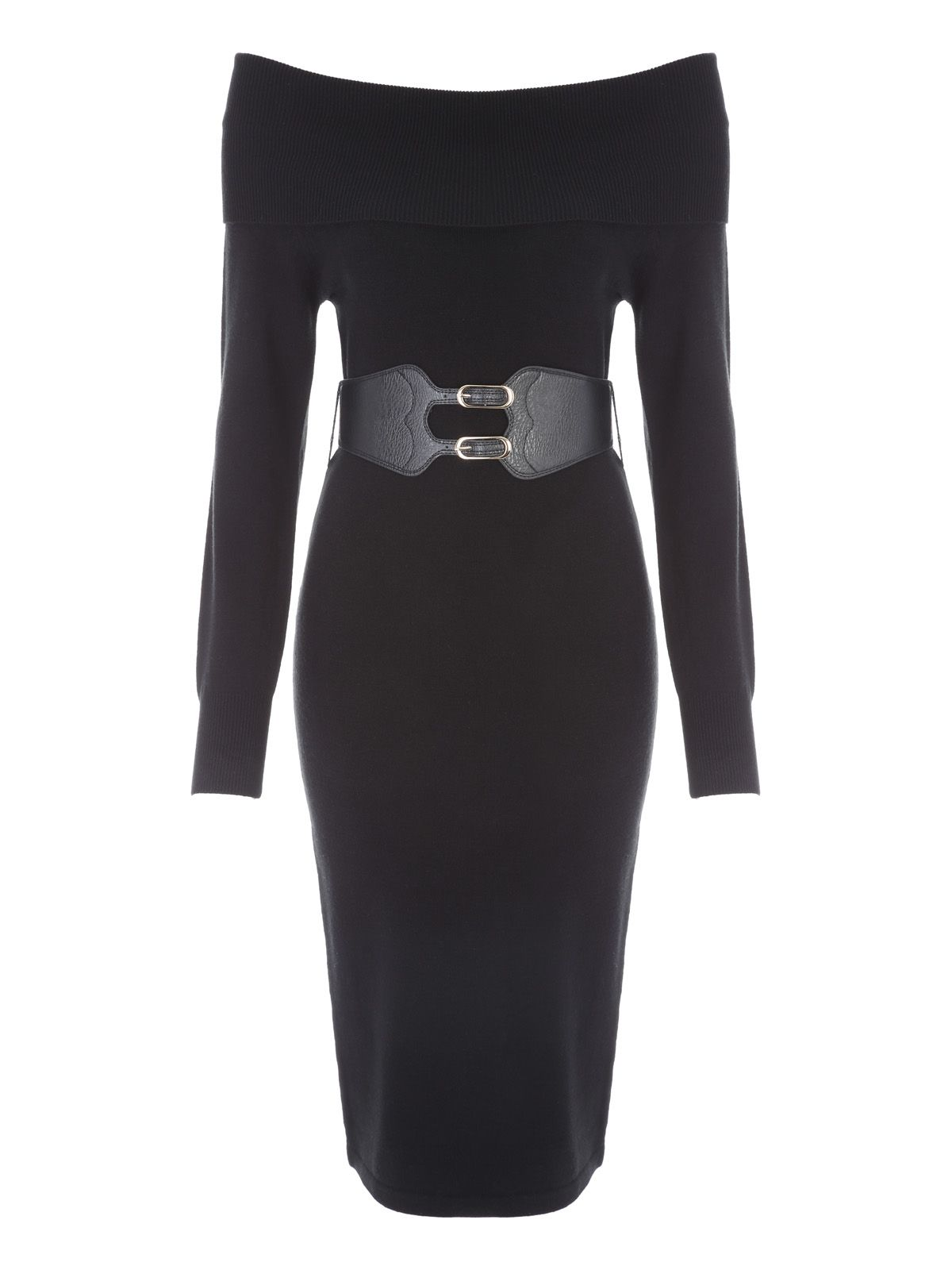 Jane Norman Bardot Belted Jumper Dress, Black