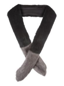 Jane Norman Black and Grey Faux Fur Wrap