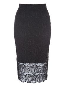 Jane Norman Lace Midi Pencil Skirt