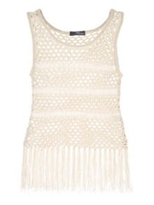 Jane Norman Beige Crochet Fringe Jumper