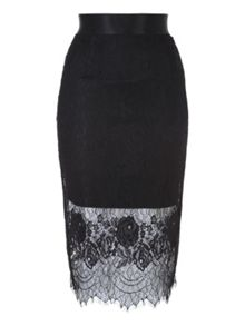 Jane Norman Black Lace Layered Pencil Skirt