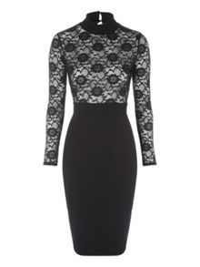 Jane Norman Lace Top Midi Dress