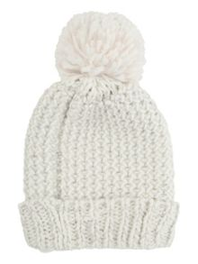 Jane Norman White Knit Bobble Hat