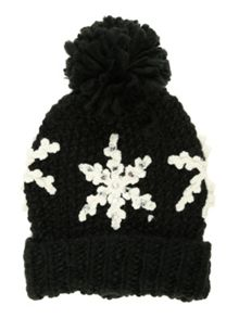 Jane Norman Black Snowflake Bobble Hat
