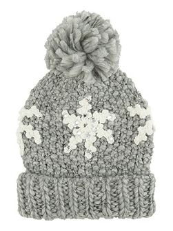 Black Snowflake Bobble Hat