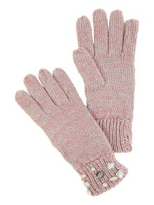 Jane Norman Pink Knitted Jewel Gloves