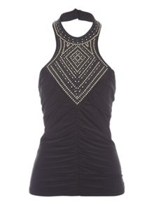 Jane Norman Black Ruched Embellished Top