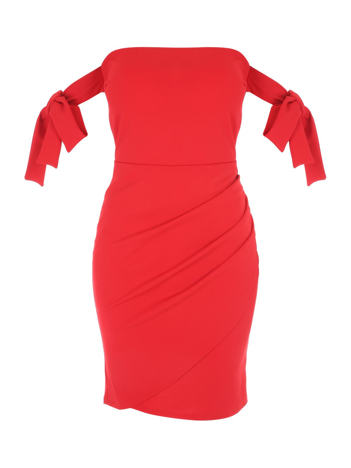 Jane Norman Wrap Bardot Dress, Red