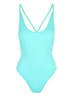 Spearmint Textured Low Back Swimsuit