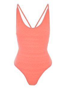 Jane Norman Peach Textured Low Back Swimsuit