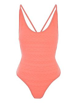 Peach Textured Low Back Swimsuit