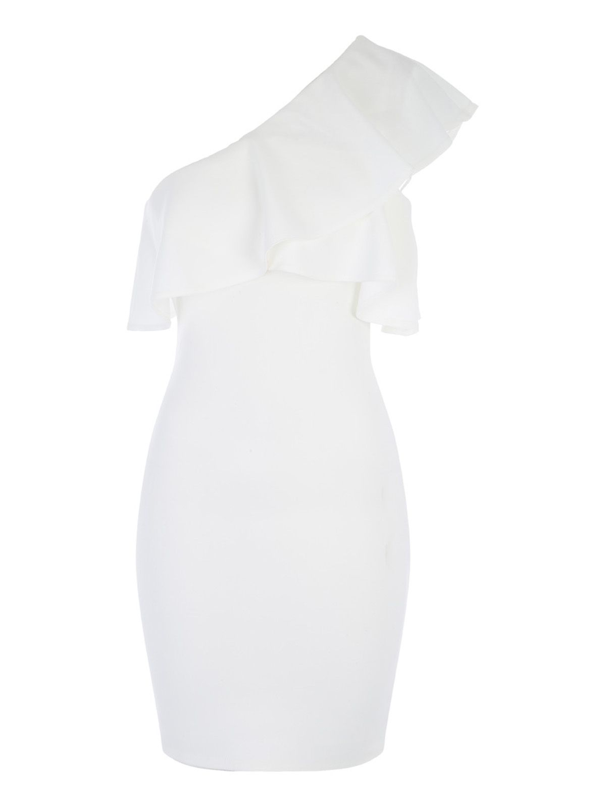 Jane Norman One Shoulder Ruffle Dress, White