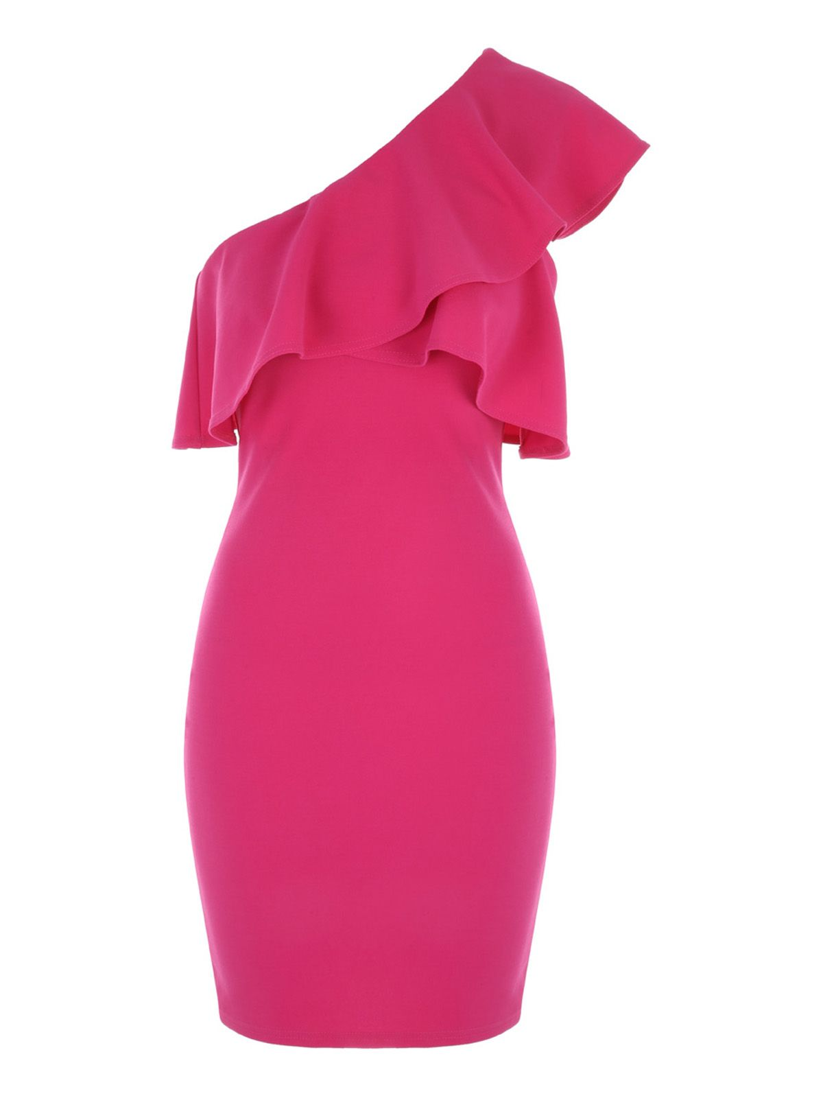 Jane Norman One Shoulder Ruffle Dress, Hot Pink