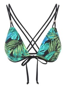 Jane Norman Green Palm Print Bikini Top