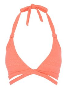 Jane Norman Peach Cross Over Bikini Top