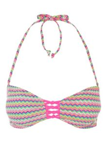 Jane Norman Multicoloured Zig Zag Bandeau Bikini Top