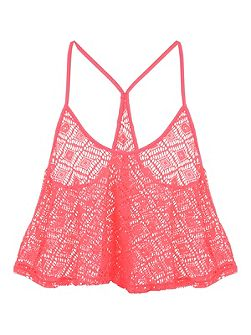 Peach Crochet Swing top