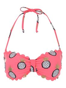 Jane Norman Pink Pineapple Print Bandeau Bikini Top