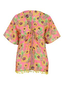 Multicolour Sunflower Print Kaftan