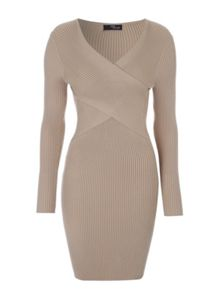 Jane Norman Rib Wrap Jumper Dress