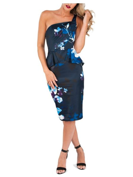Jane Norman One Shoulder Printed Peplum Dress