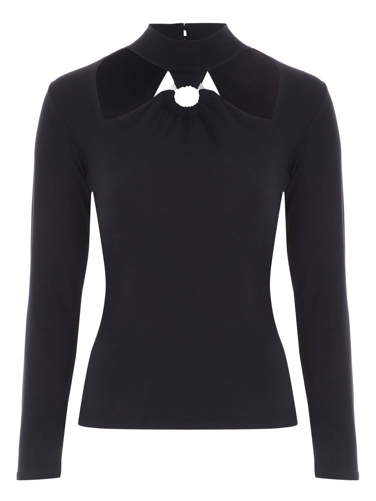 Jane Norman Black Ring Cut Out Top, Black
